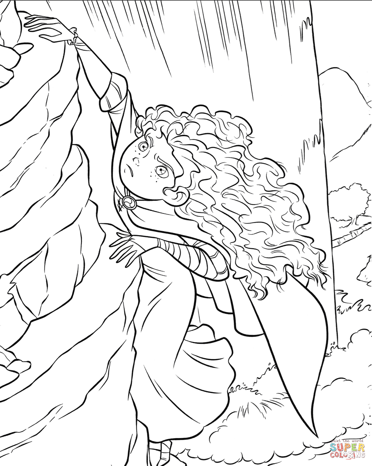 Brave Merida Is Climbing The Rock Coloring Page