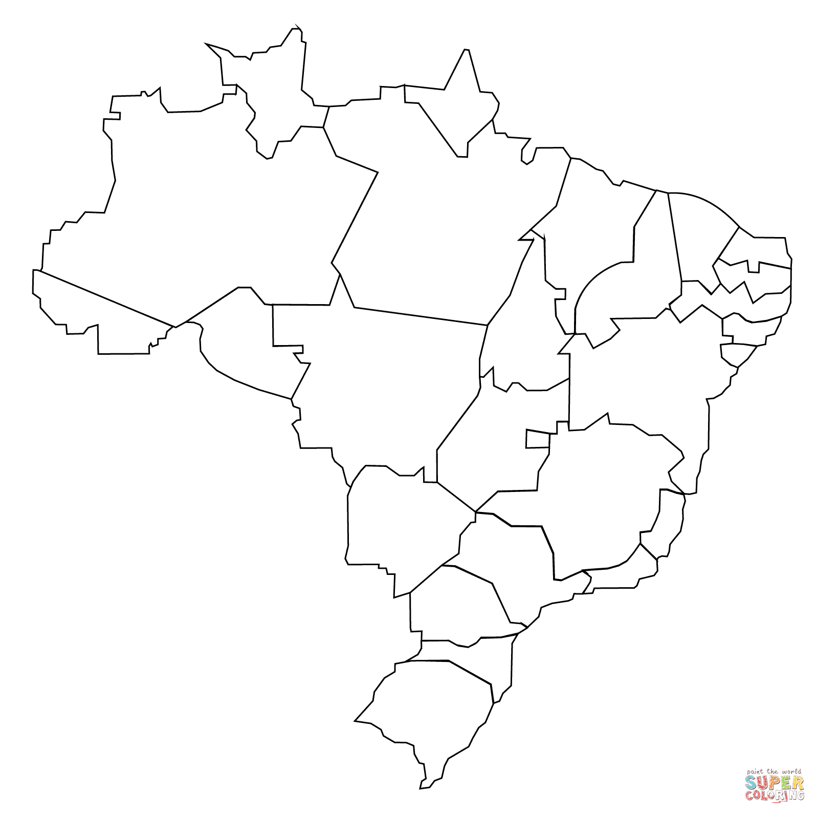 Outline Map Of Brazil With States Coloring Page