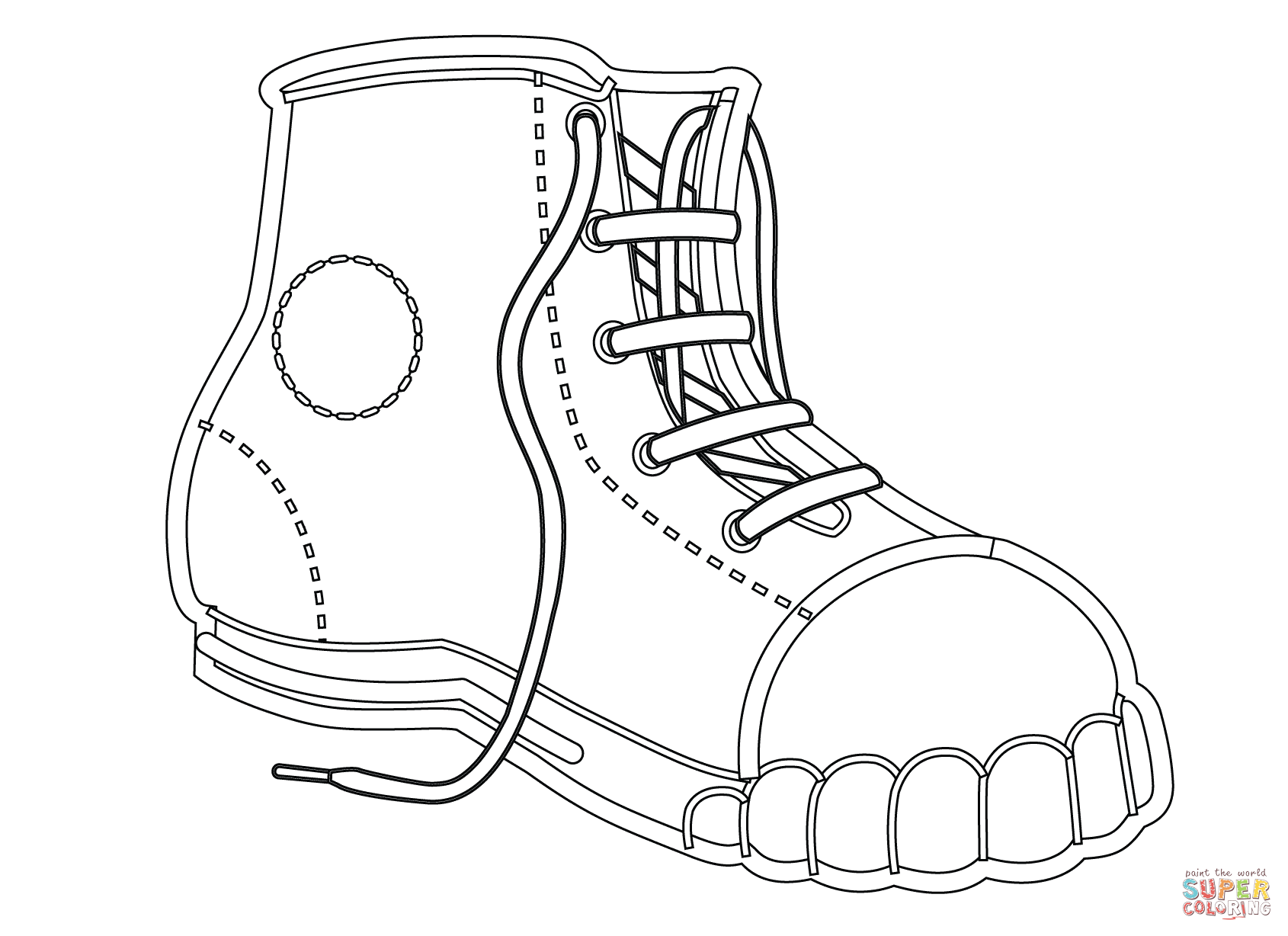 Canvas Shoe Coloring Page