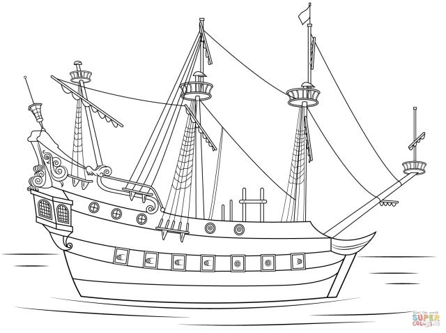 Coloriage - Navire du Capitaine Crochet  Coloriages à imprimer