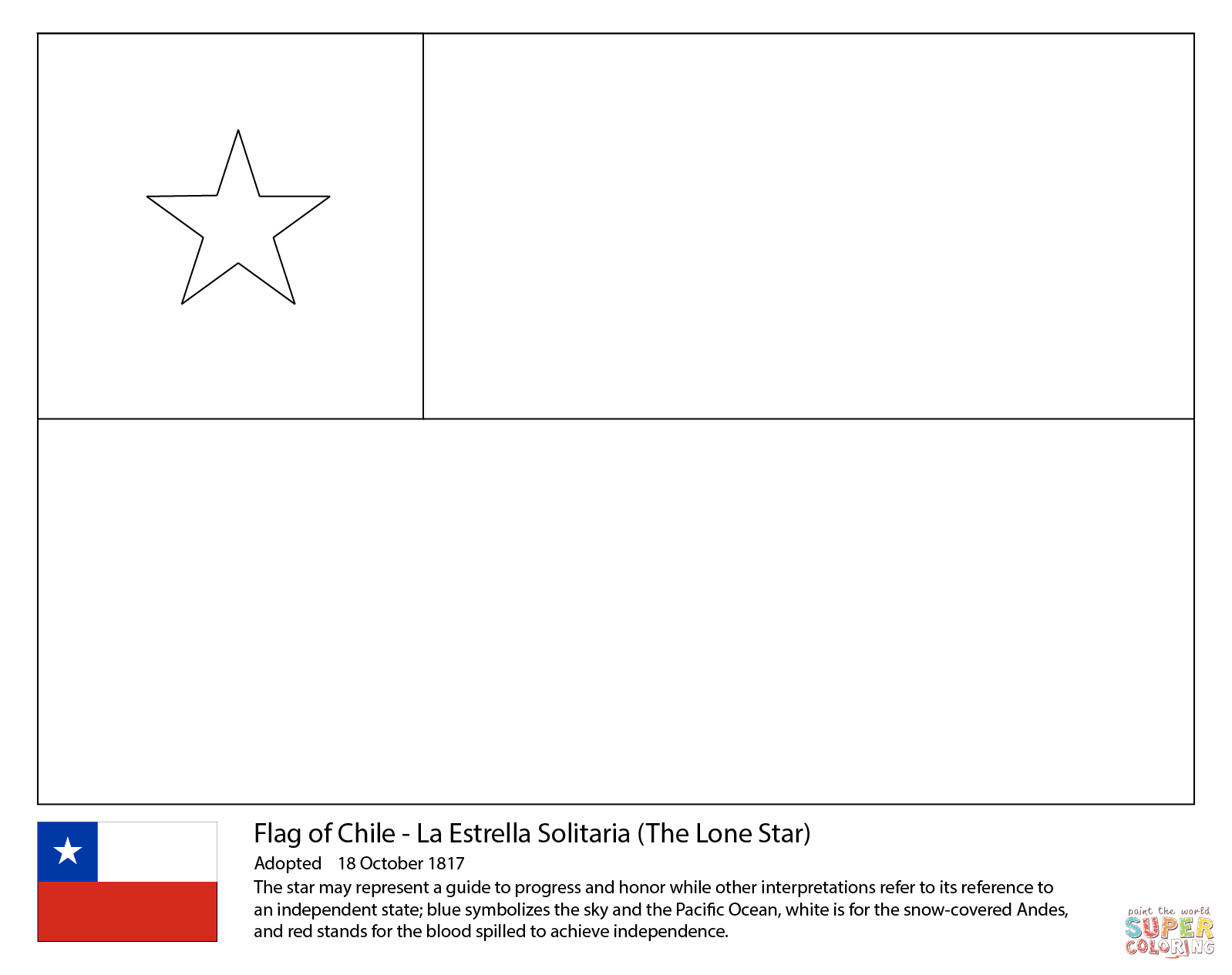 Chile Flag Coloring Page