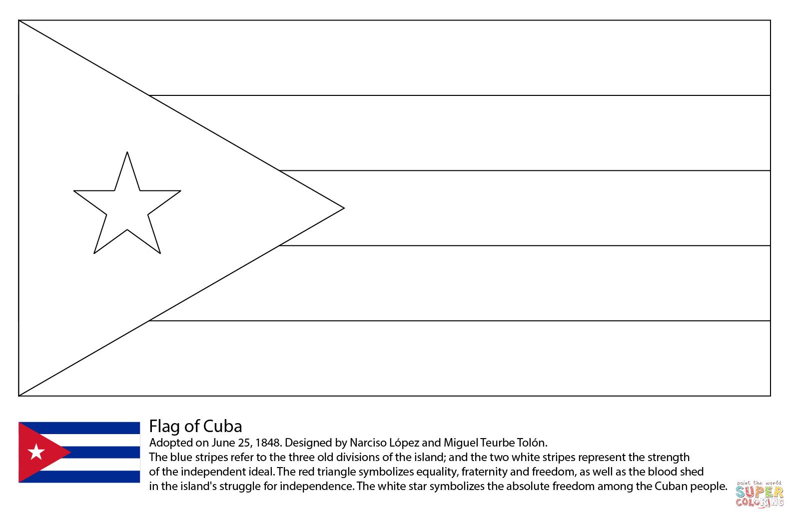 Ausmalbild Flagge Von Kuba