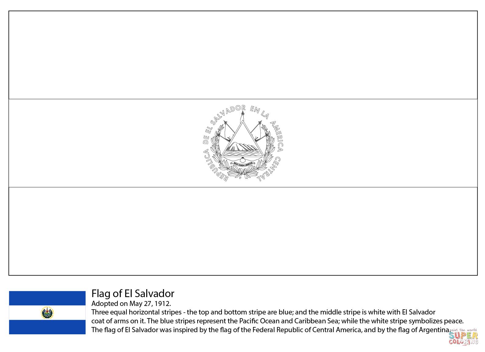 Flag Of El Salvador Coloring Page