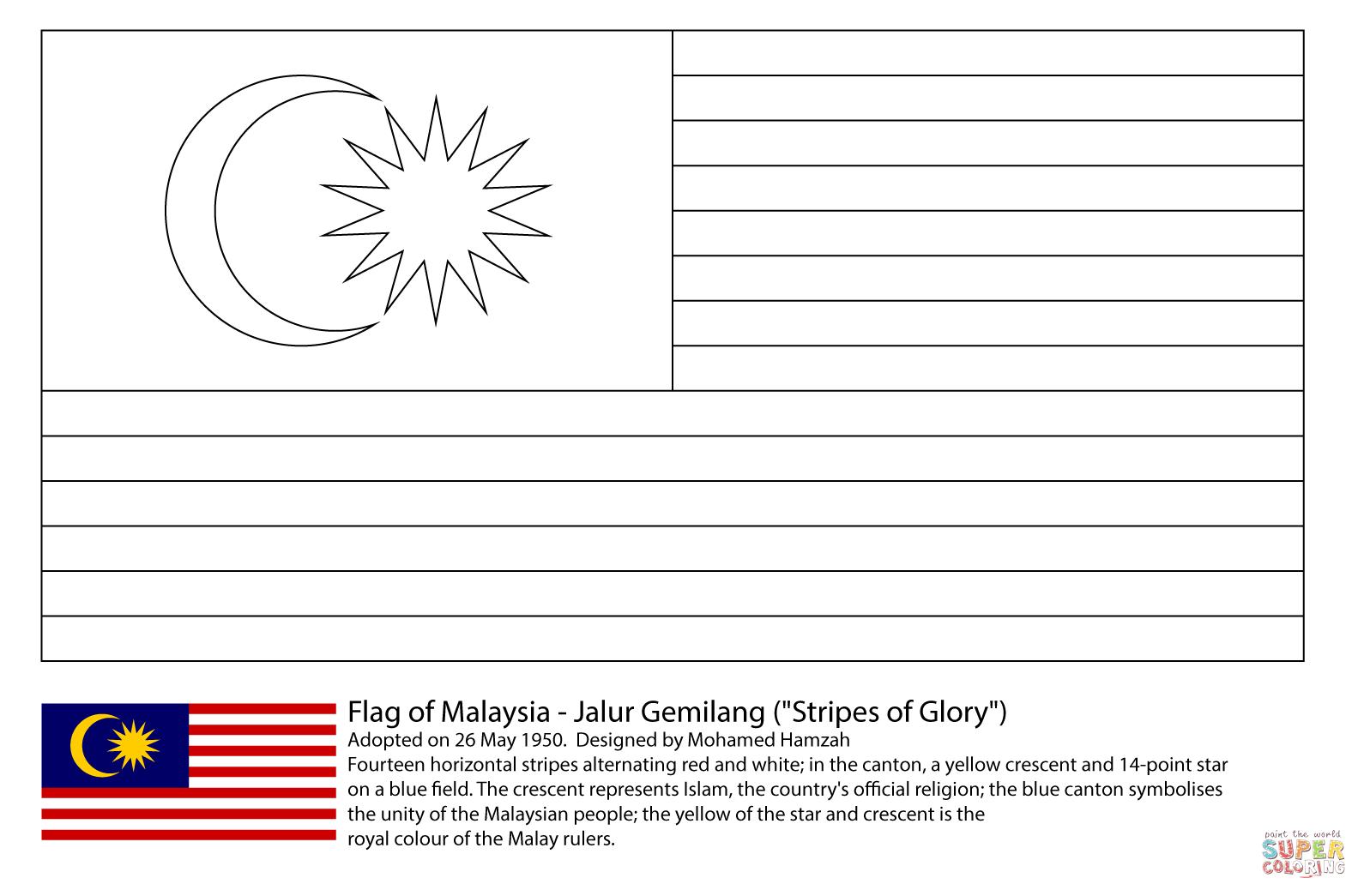 Ausmalbild Fahne Von Malaysia