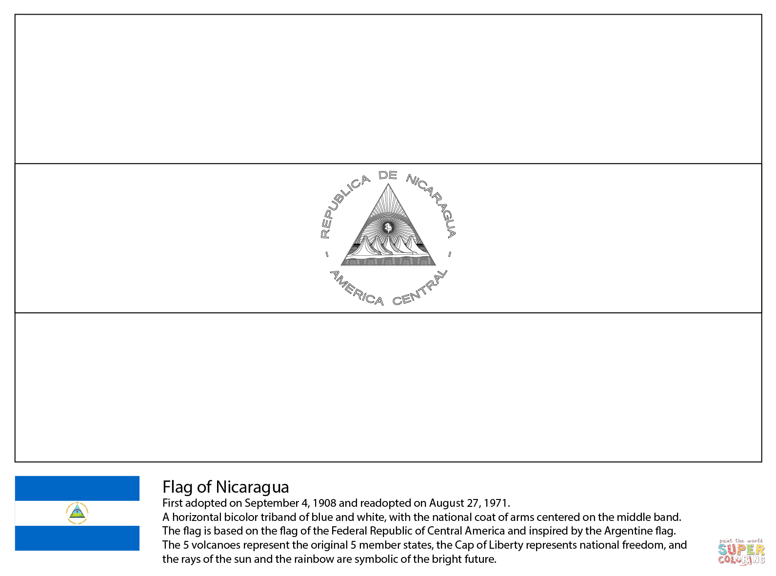 Free Coloring Pages Download Flag Of Nicaragua Page Printable Jamaica