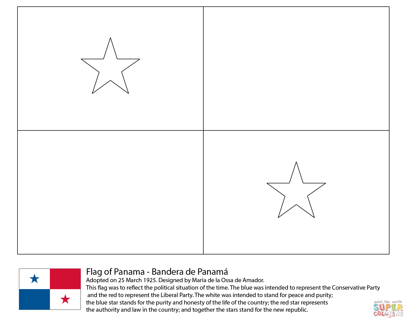 Flag Of Panama Coloring Page