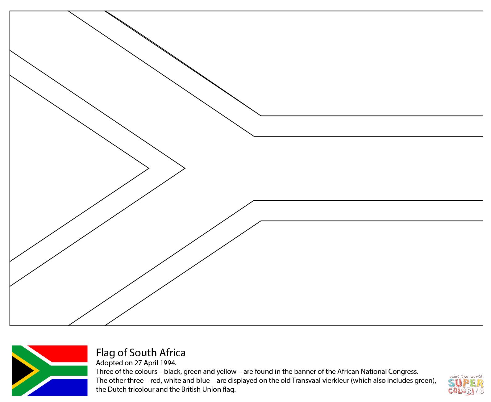 Vlag Zuid Afrika Kleurplaat
