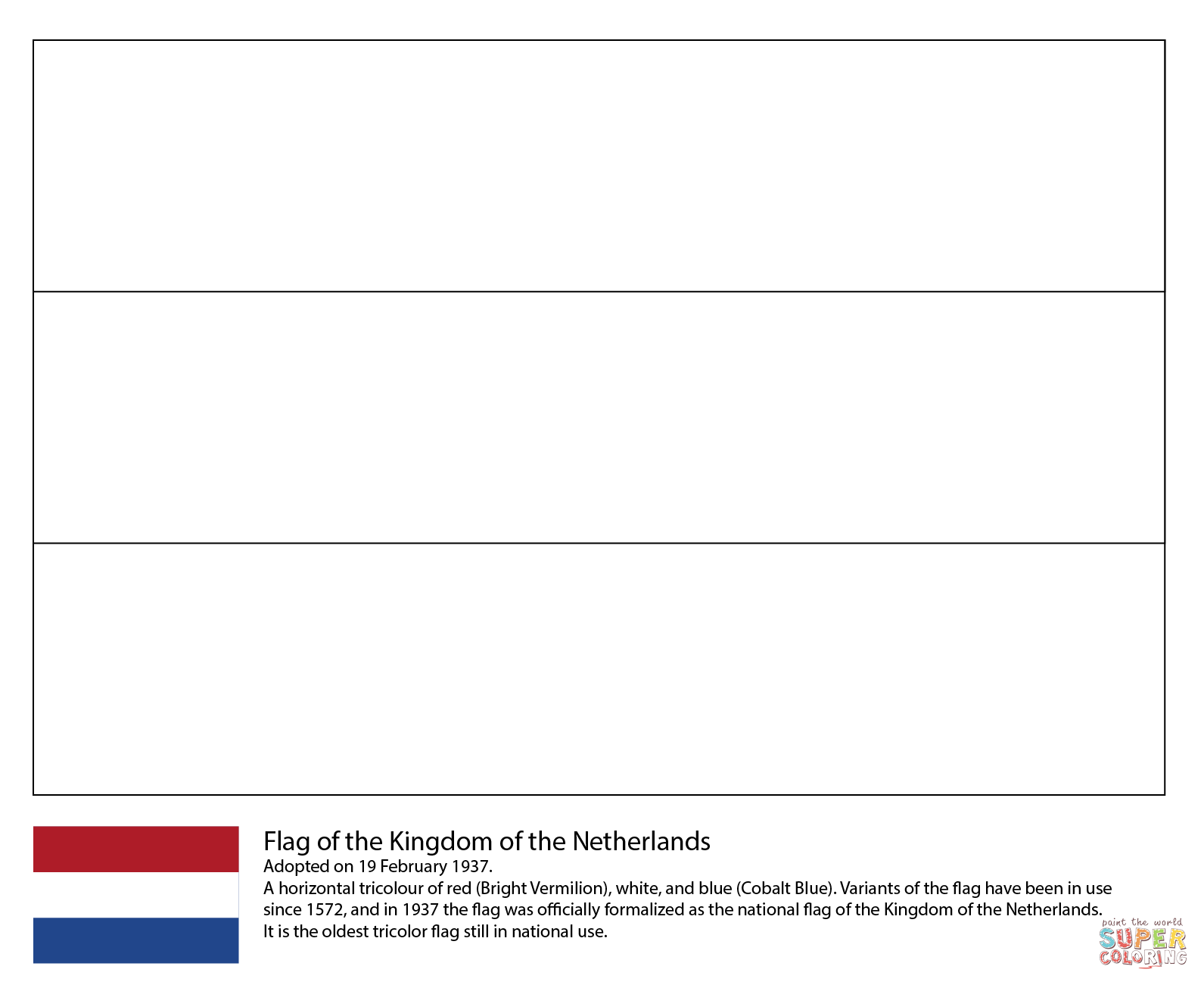 Flag Of The Netherlands Coloring Page