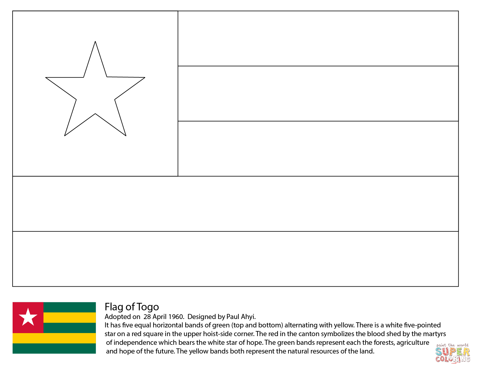 Flag Of Togo Coloring Page