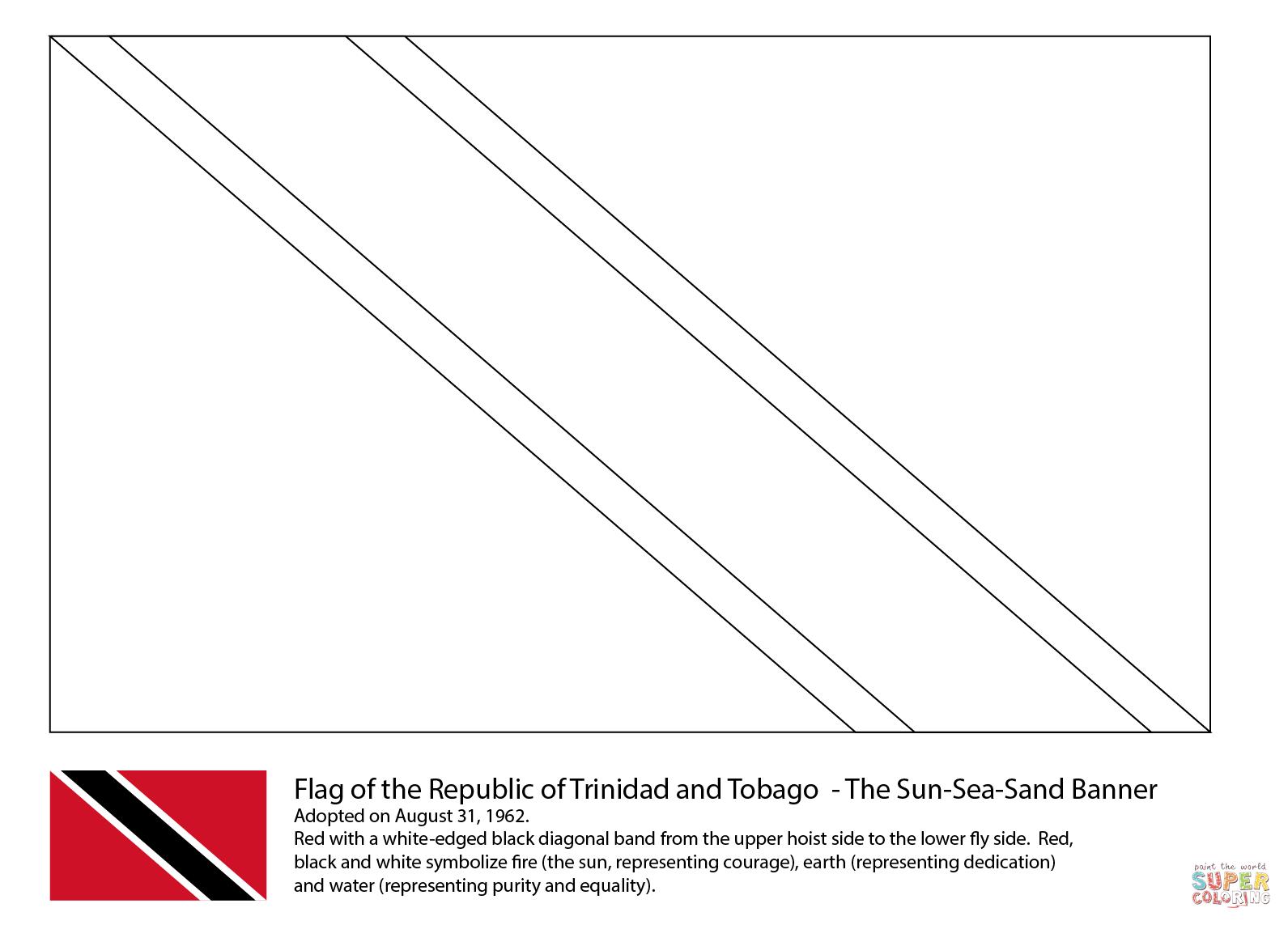 Flag Of Trinidad And Tobago Coloring Page
