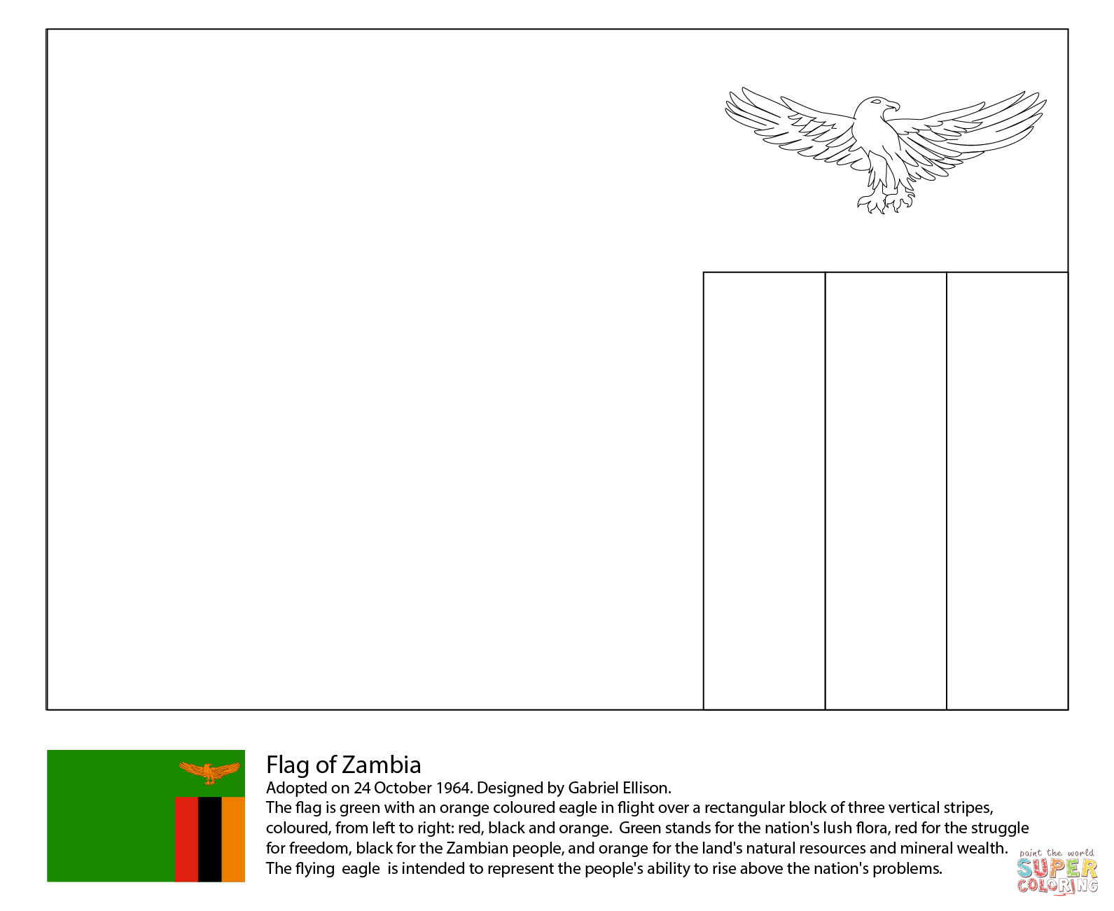 Flag Of Zambia Coloring Page