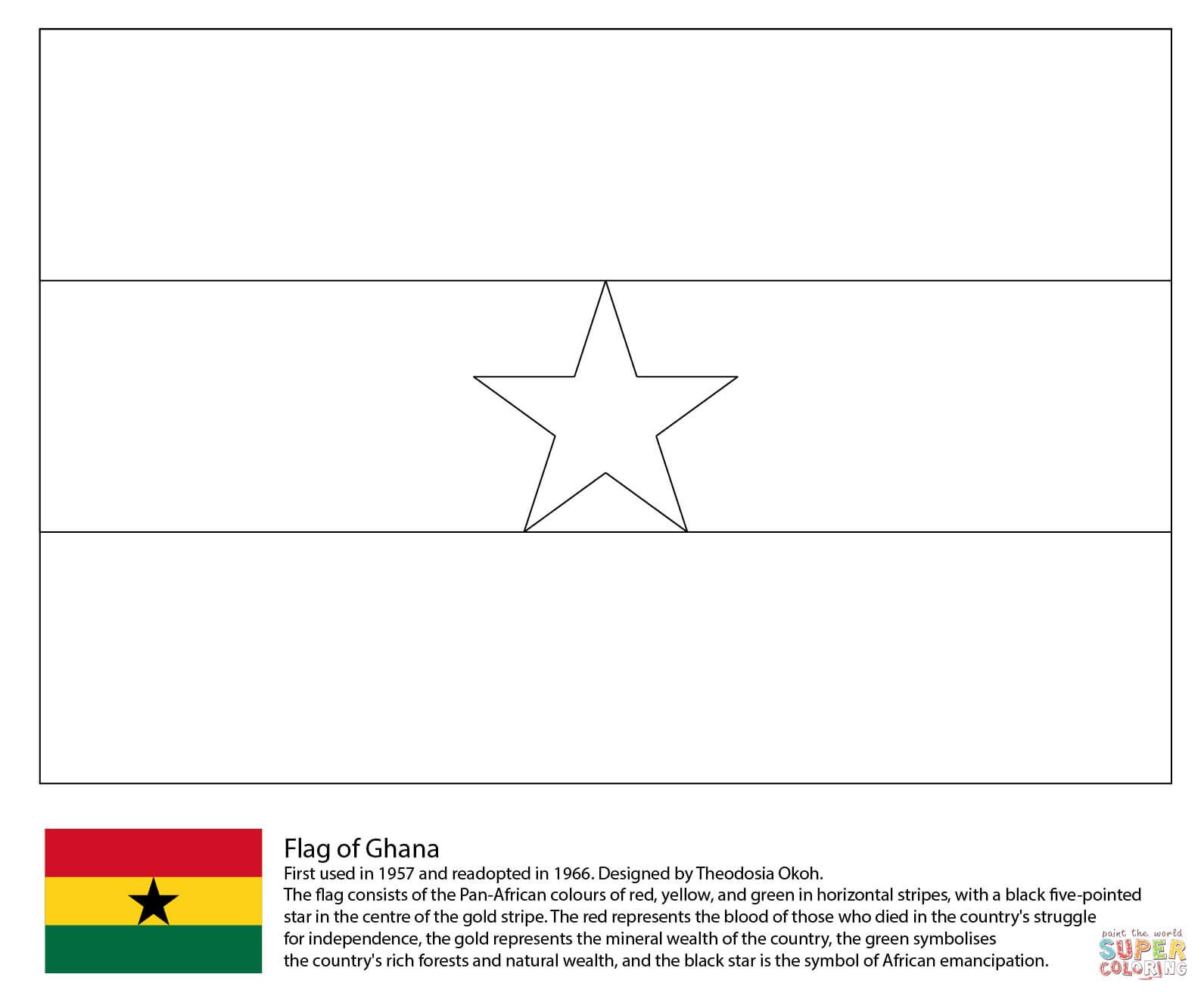 Disegno Di Ban Ra Del Ghana Da Colorare