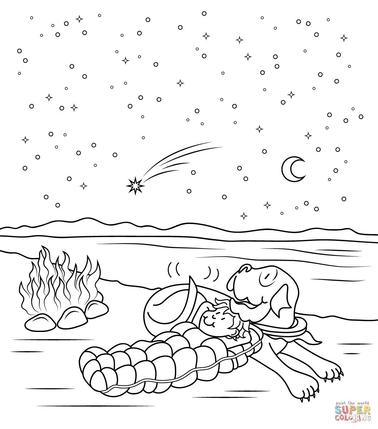 Dibujo De Henry Y Mudge En La Noche Estrellada Para