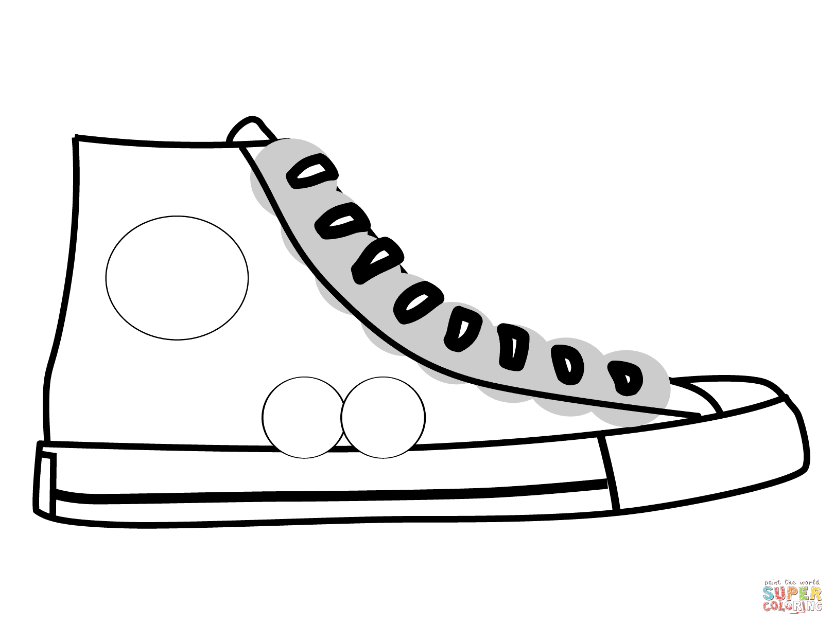 High Top Shoe Coloring Page Free Printable Coloring Pages