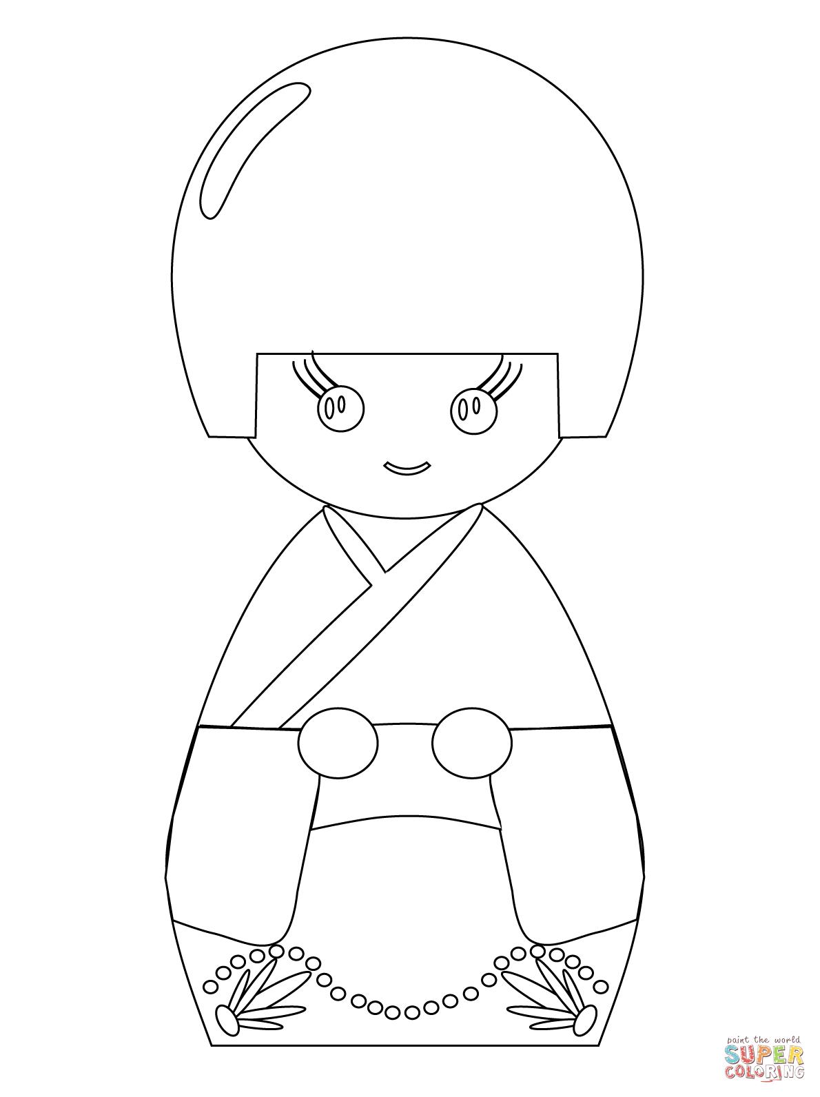 Kokeshi Doll Coloring Page