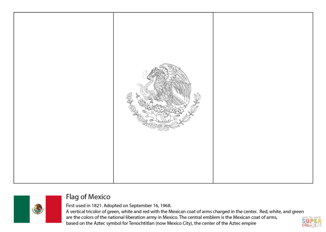 Click The Mexico Flag Coloring Pages