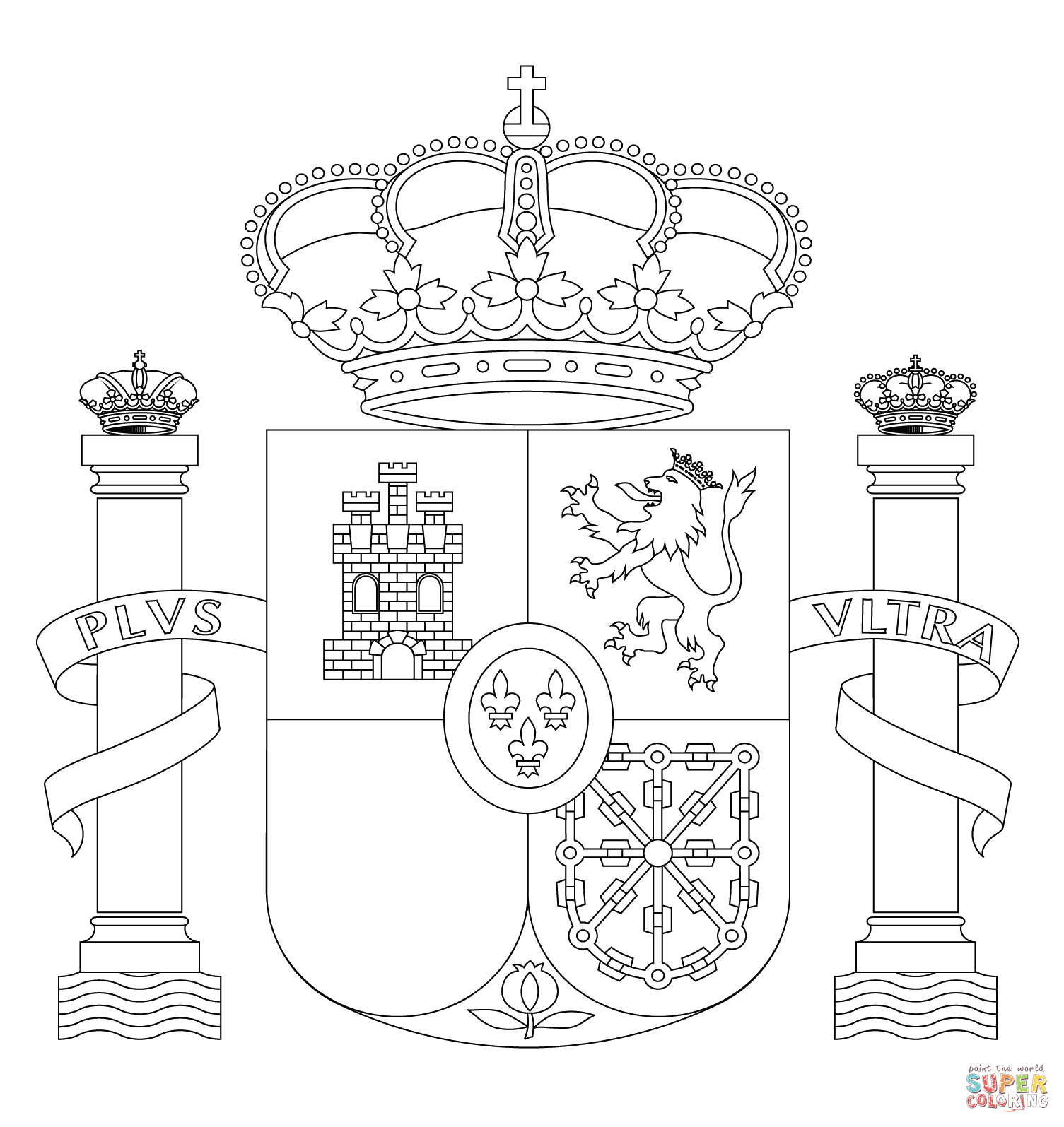 Spain Coat Of Arms Coloring Page