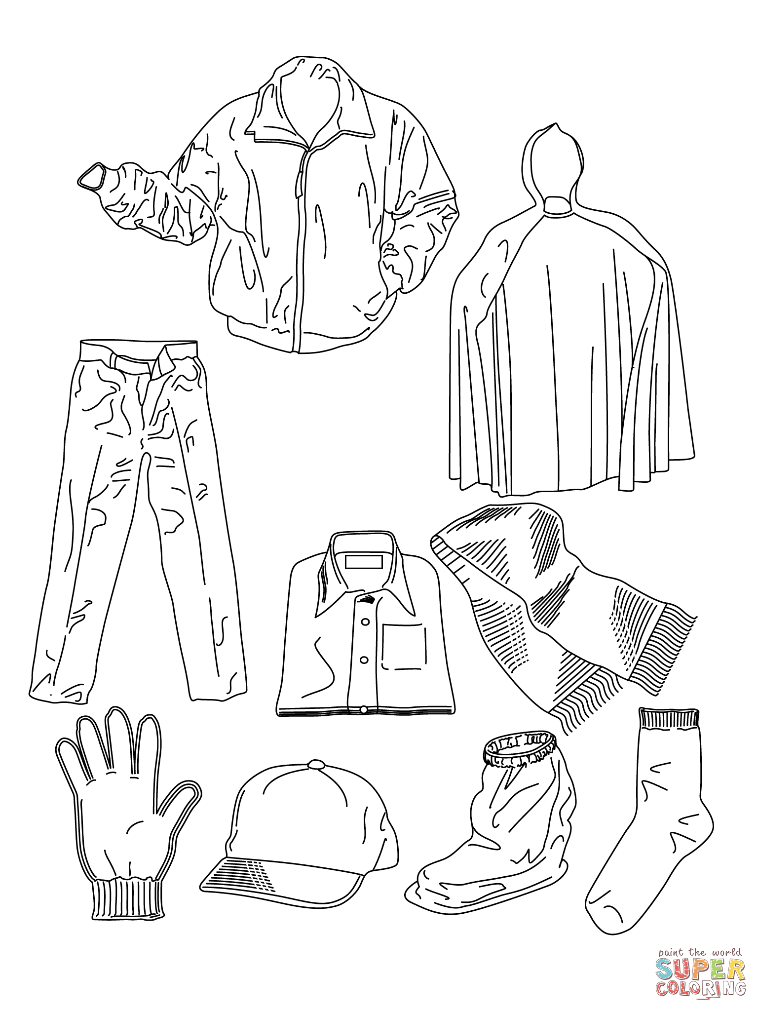 Free Coloring Pages Download Various Clothes Page Printable Of Clothing