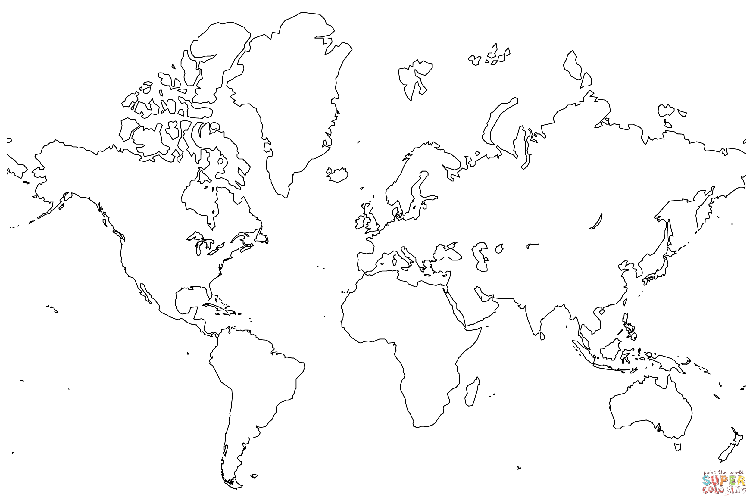 Blank Map Of The World Coloring Page Free Printable Coloring Pages
