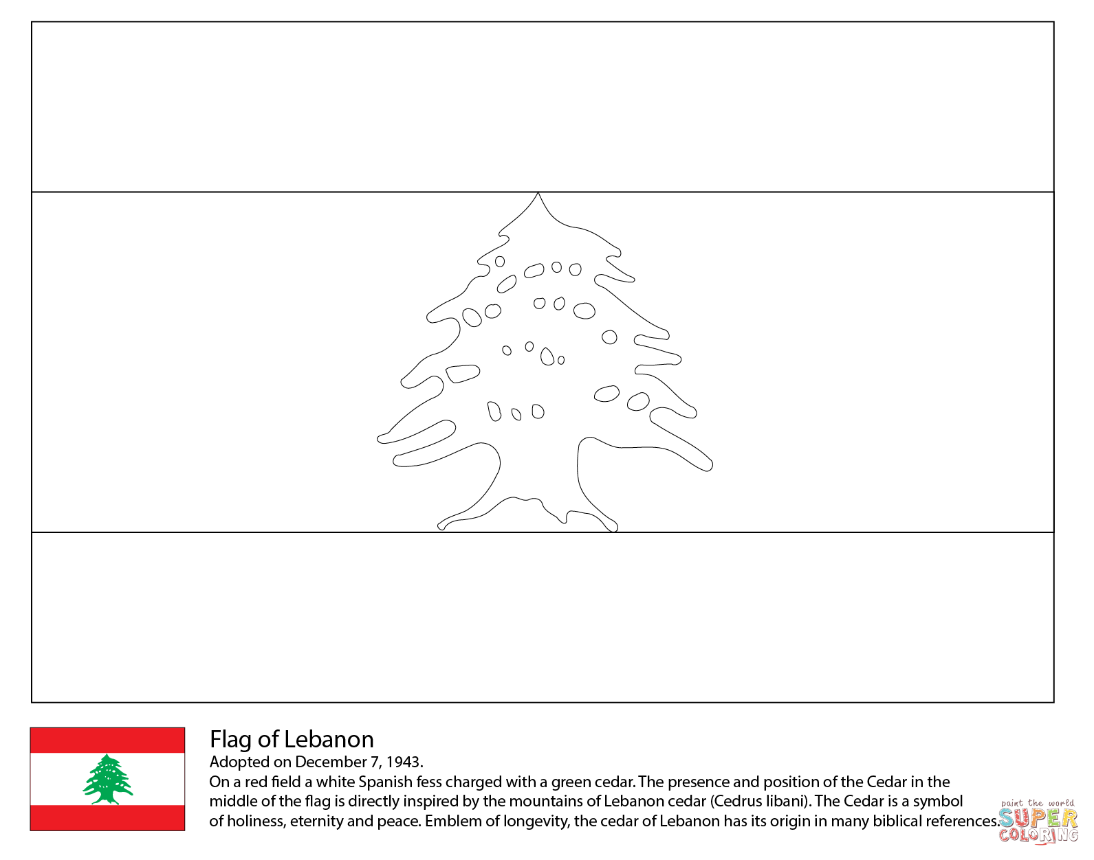 Flag Of Lebanon Coloring Page