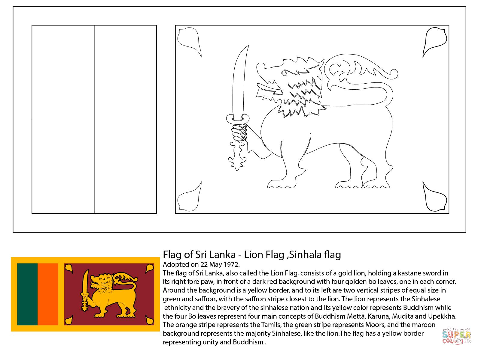 Flag Of Sri Lanka Coloring Page