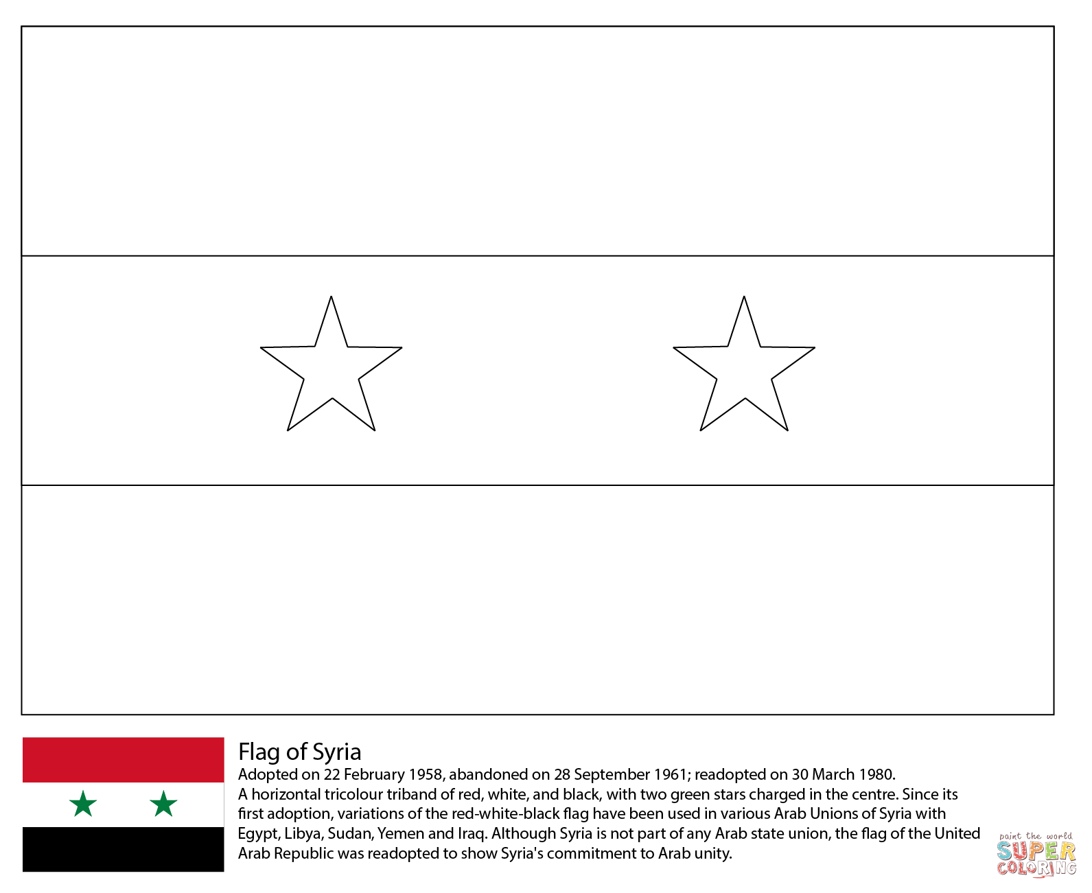 Flag Of Syria Coloring Page