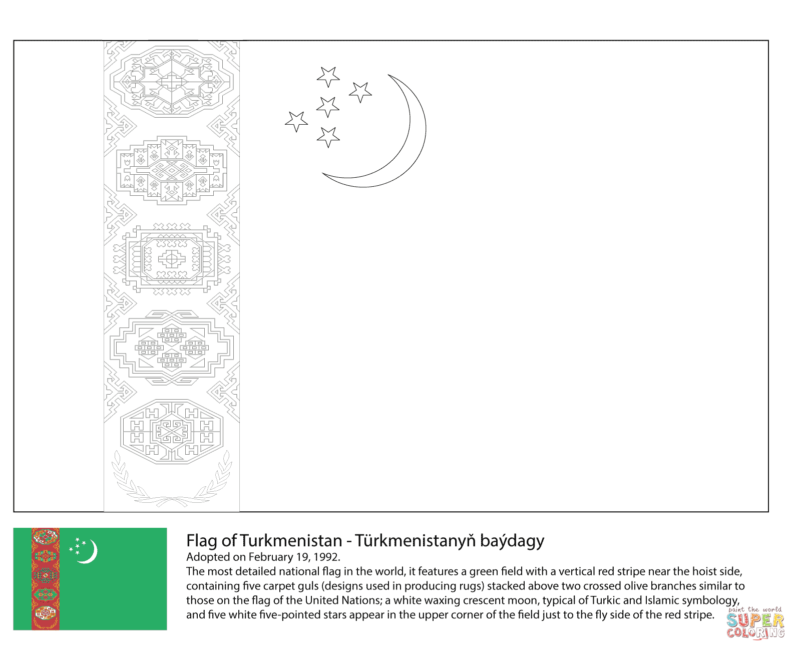 Turkmenistan Flag Coloring Pages