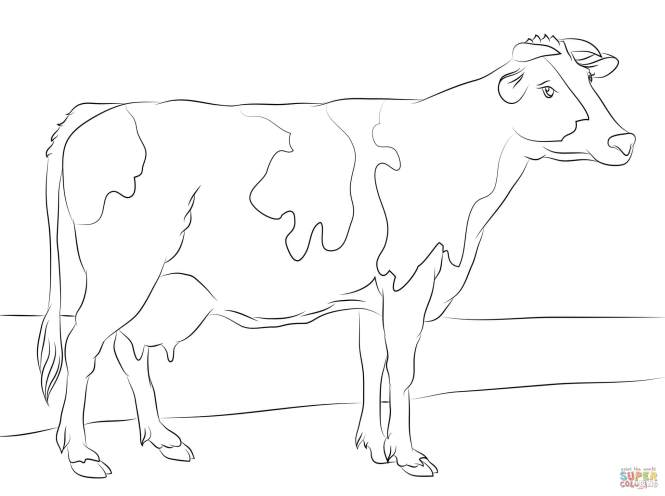 Click The Holstein Cow Coloring Pages To View Printable