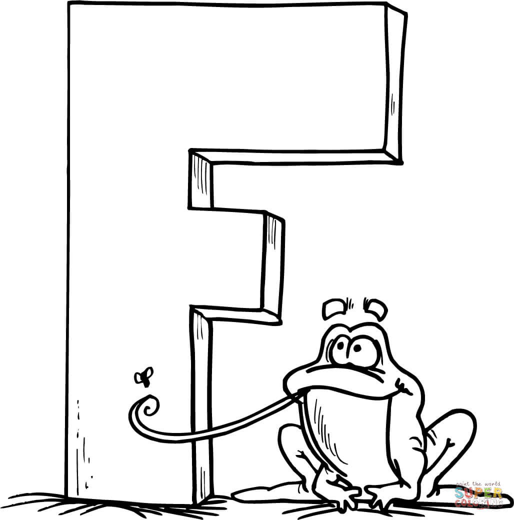 Letter F Is For Frog Coloring Page