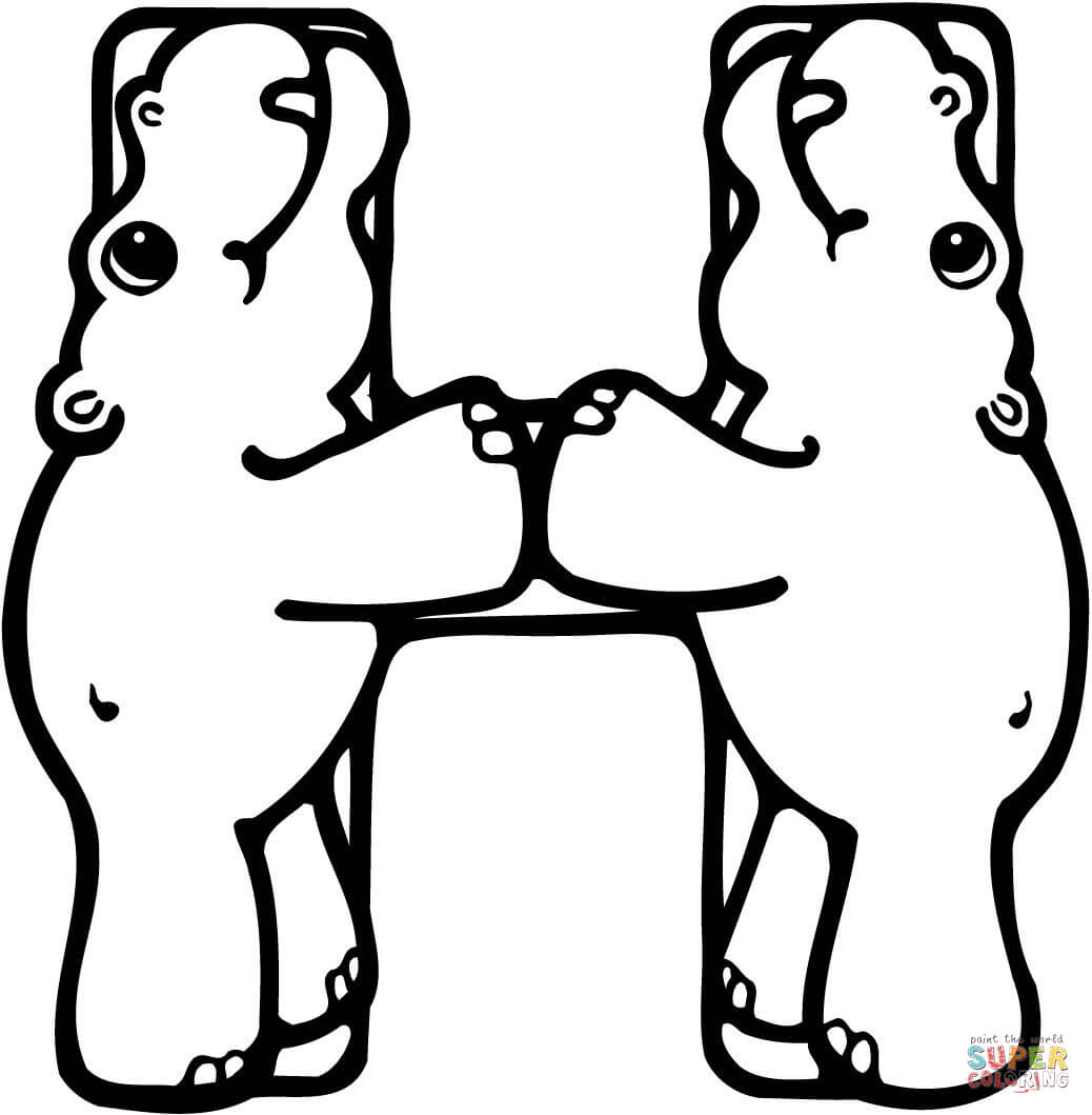 Letter H Is For Hippo Or Hippopotamus Coloring Page