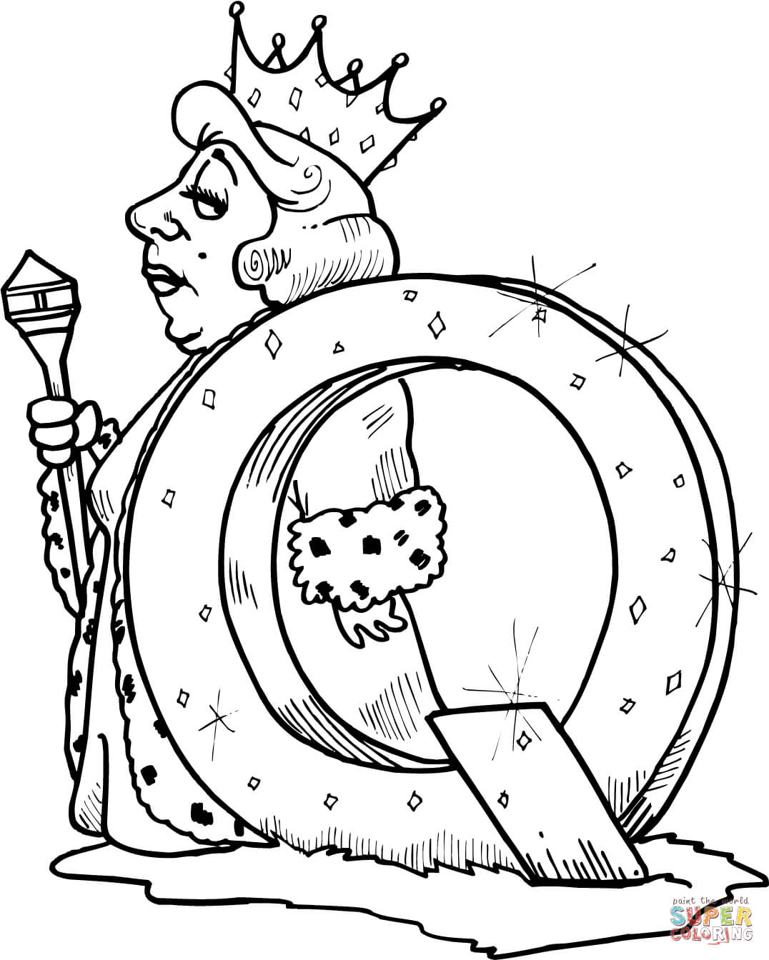 Letter Q Is For Queen Coloring Page