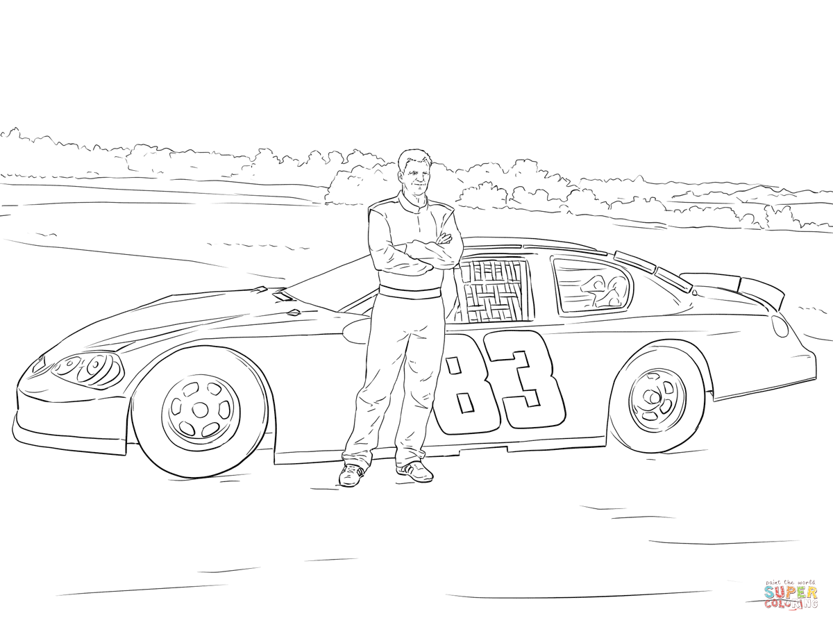 Dale Earnhardt Jr With His Car Coloring Page