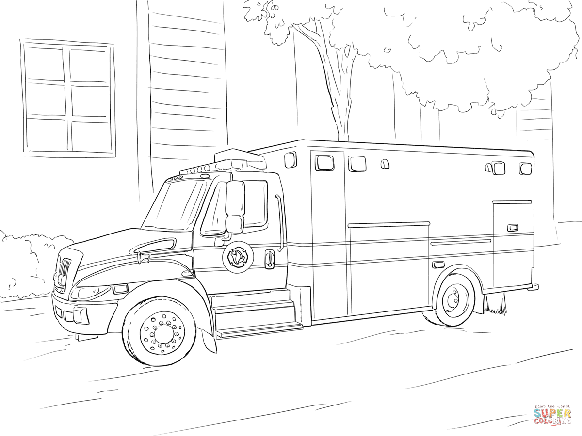Emergency Car Coloring Page