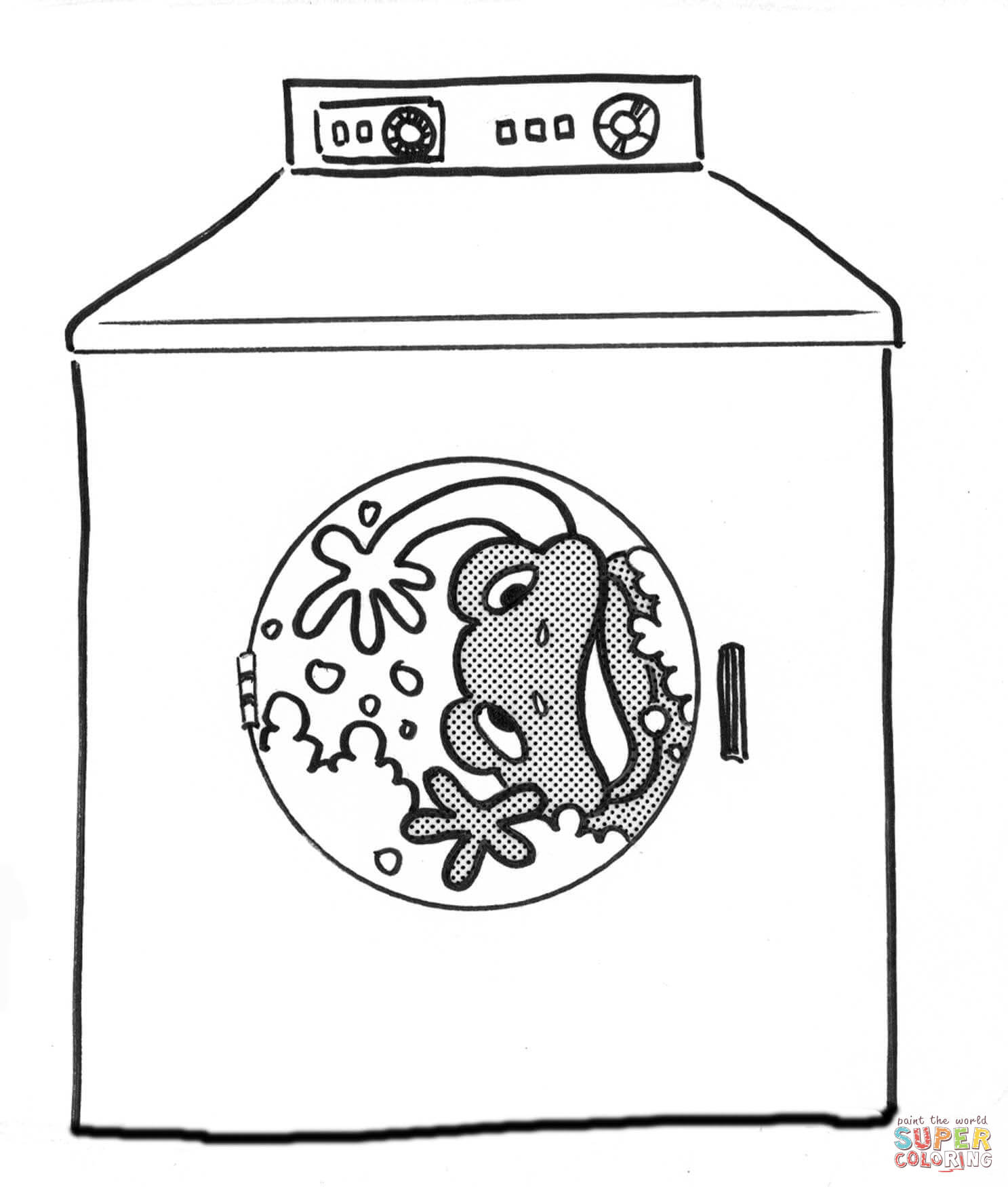 Frog In The Washing Machine Coloring Page