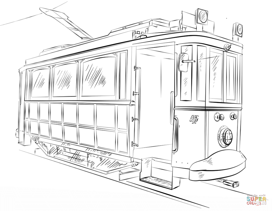 Trolley Car Coloring Page