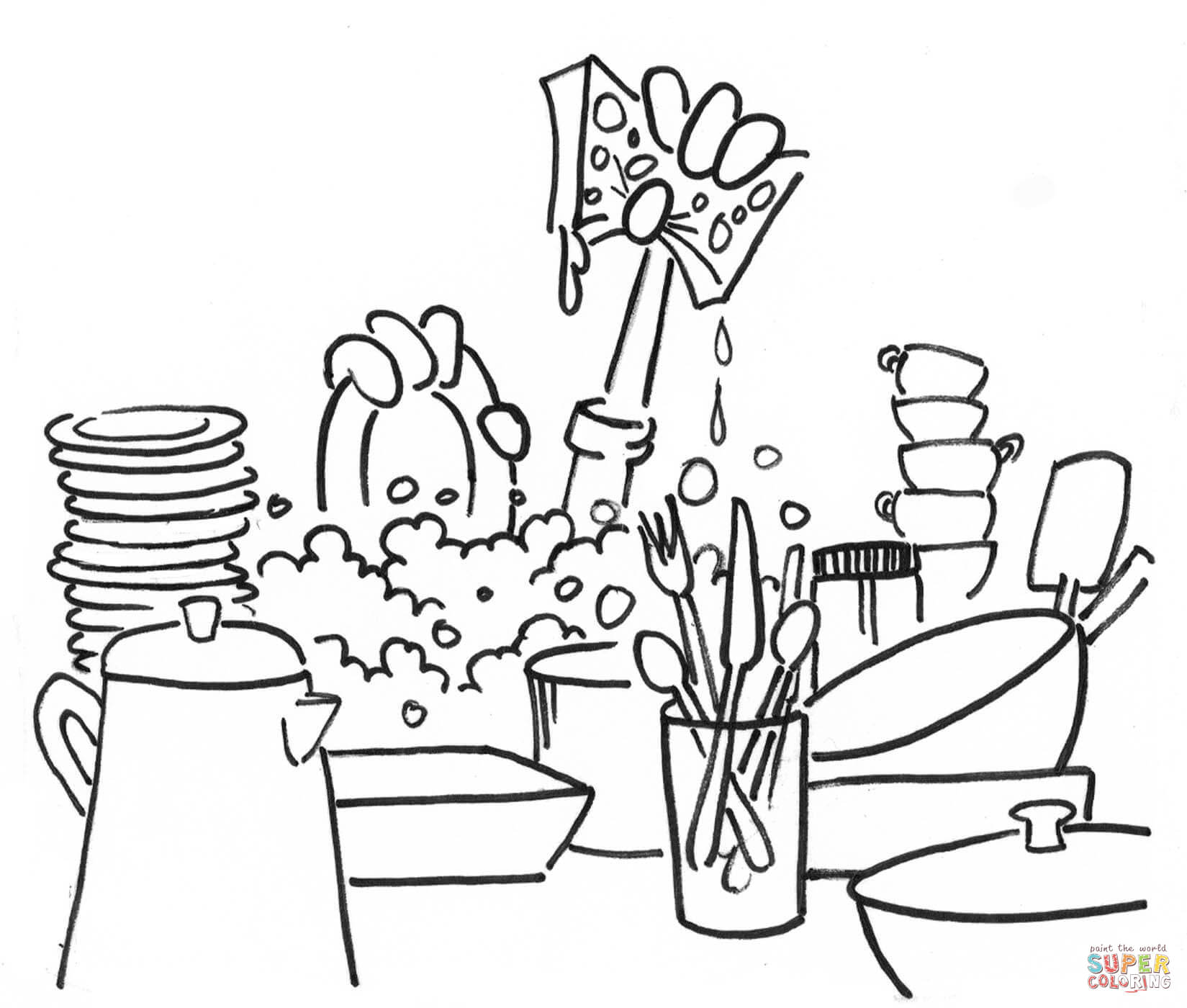 Washing Dishes Coloring Page