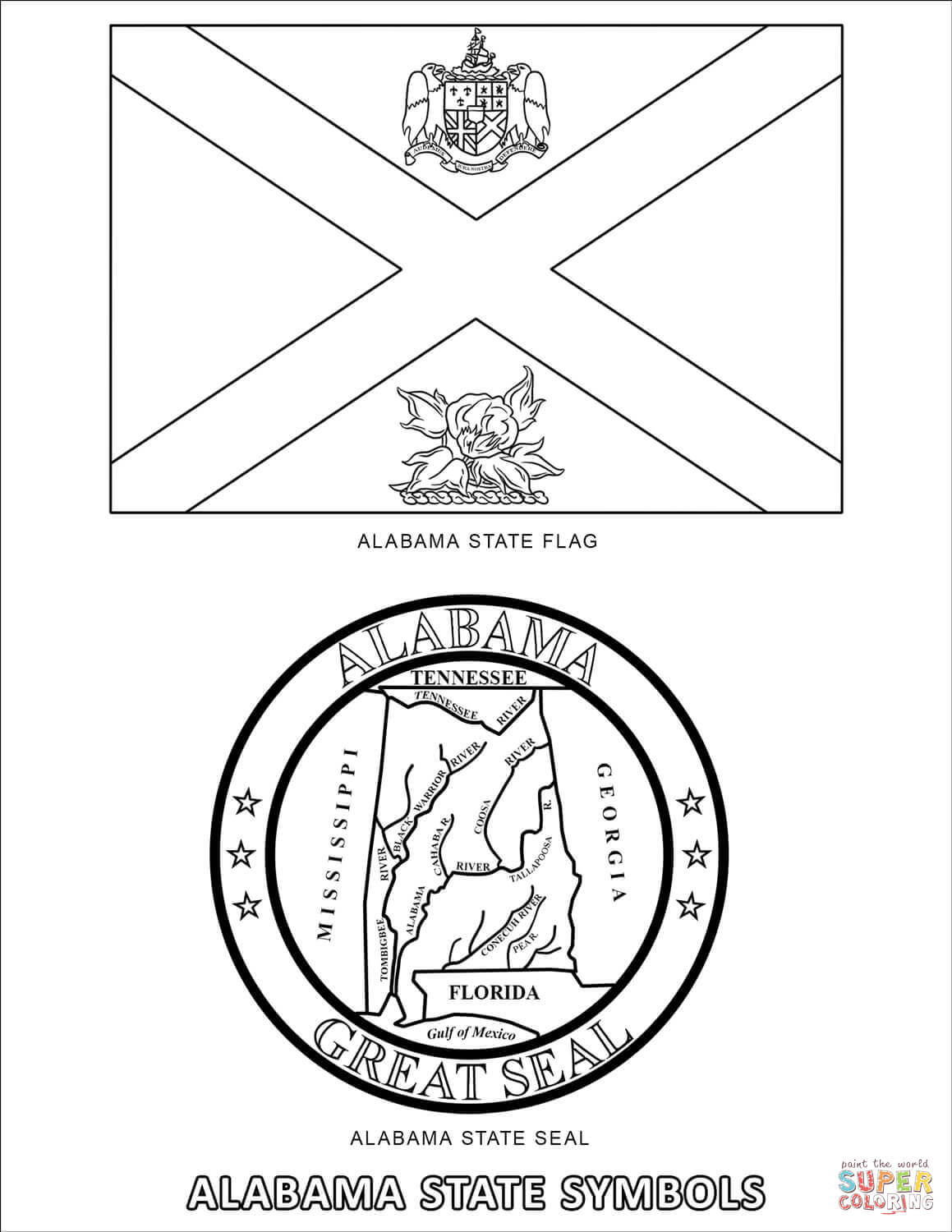 Alabama State Symbols Coloring Pages Coloring Pages
