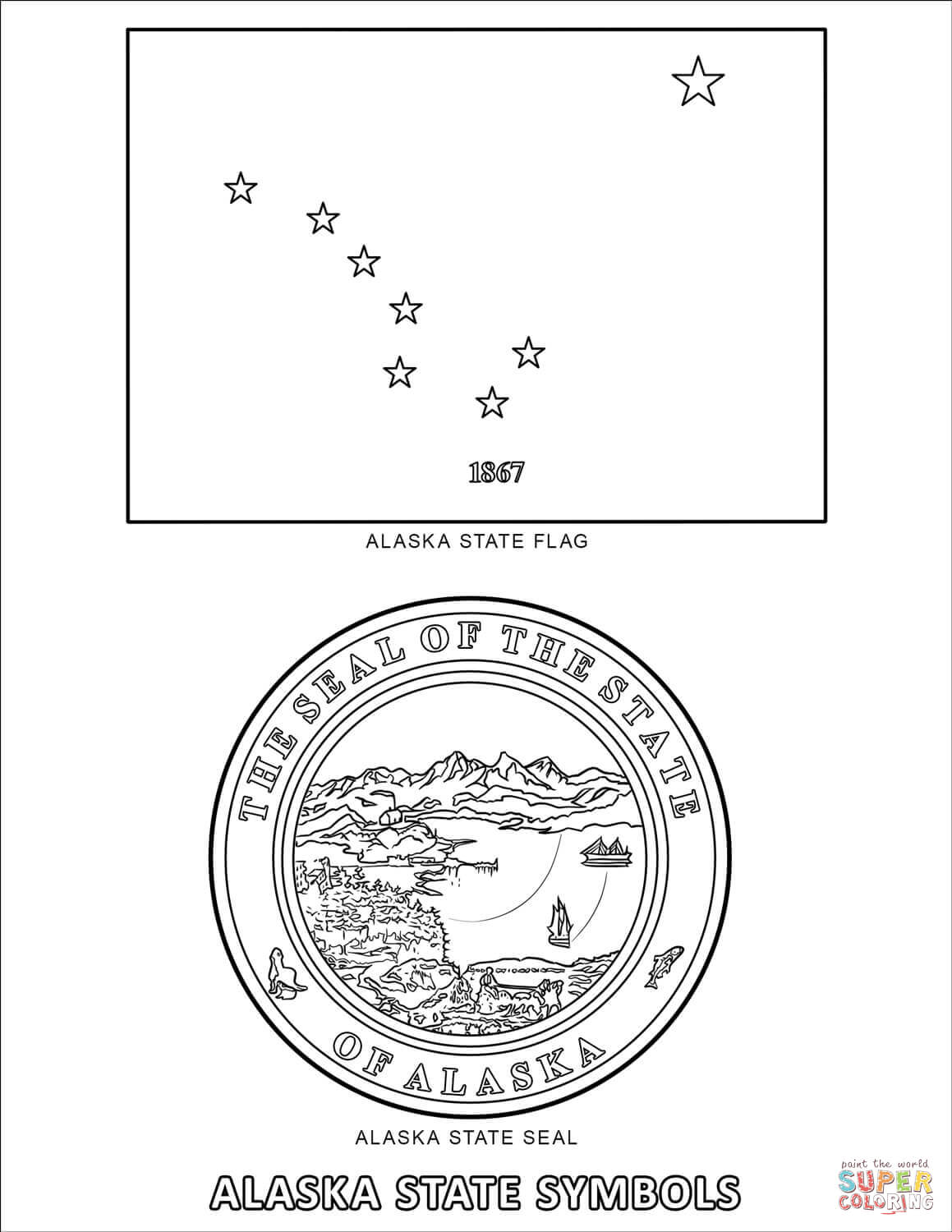 Alaska State Symbols Coloring Page