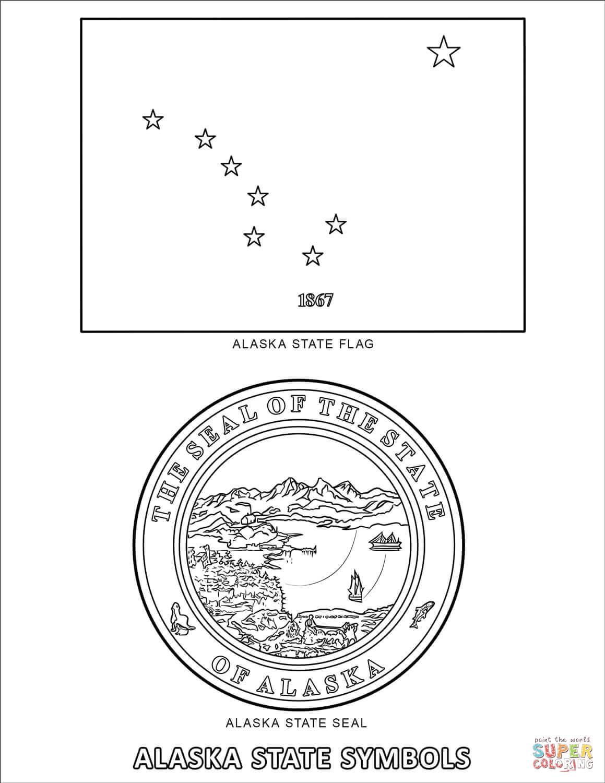 Alaska State Symbols Coloring Page