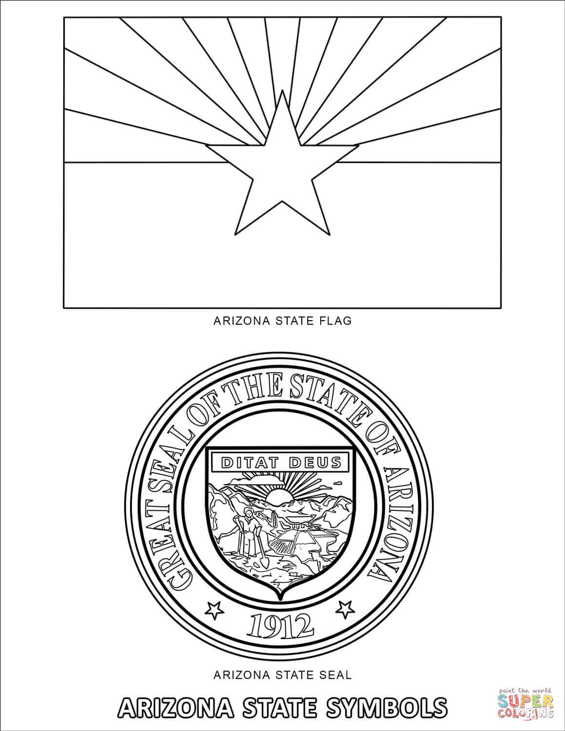 Arizona State Symbols Coloring Page