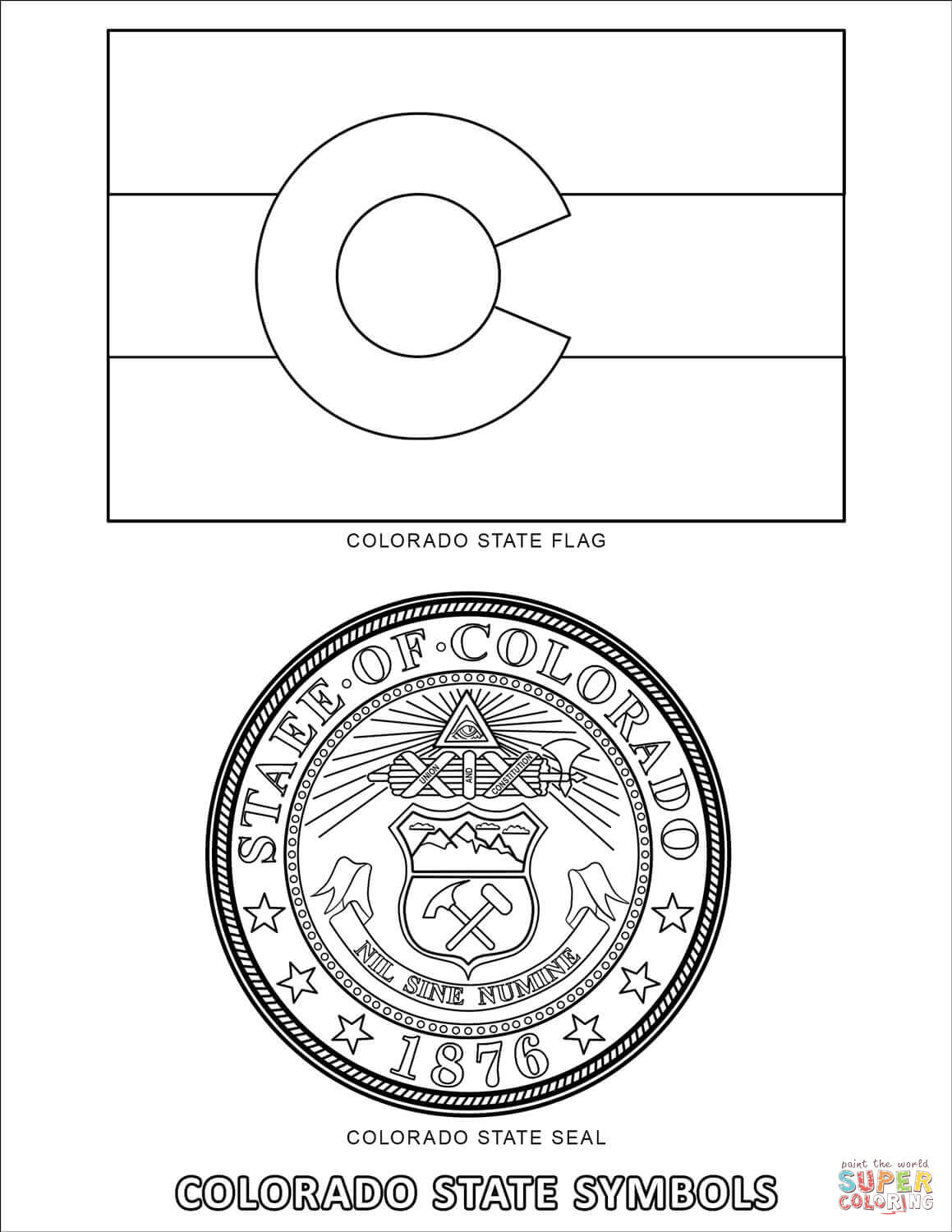 Colorado State Bird And Flower Coloring Page