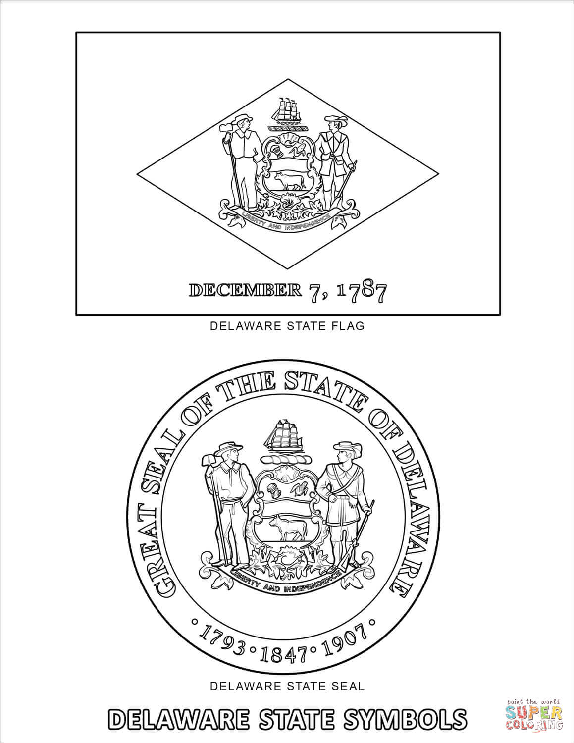Delaware State Symbols Coloring Page
