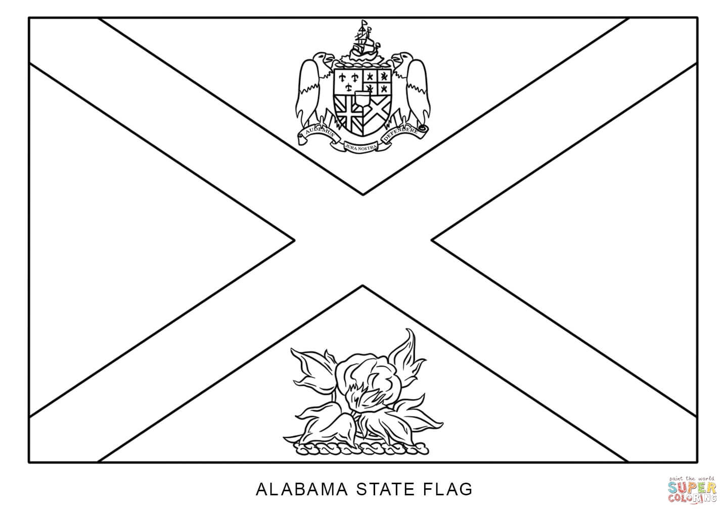Flag Of Alabama Coloring Page