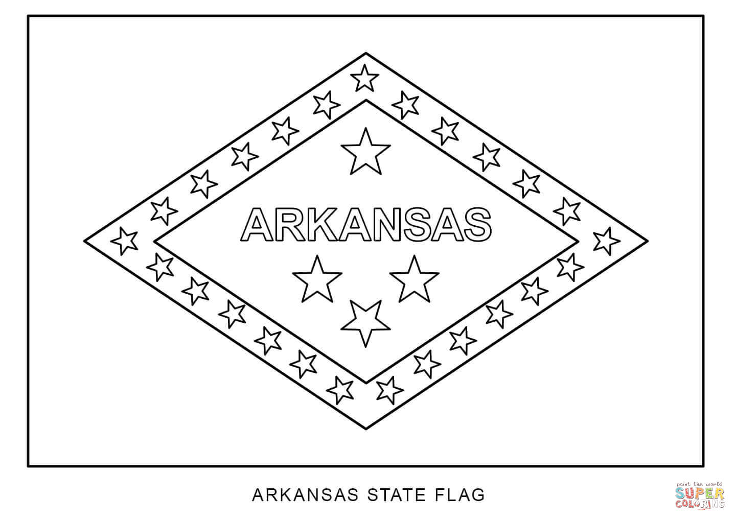 Flag Of Arkansas Coloring Page