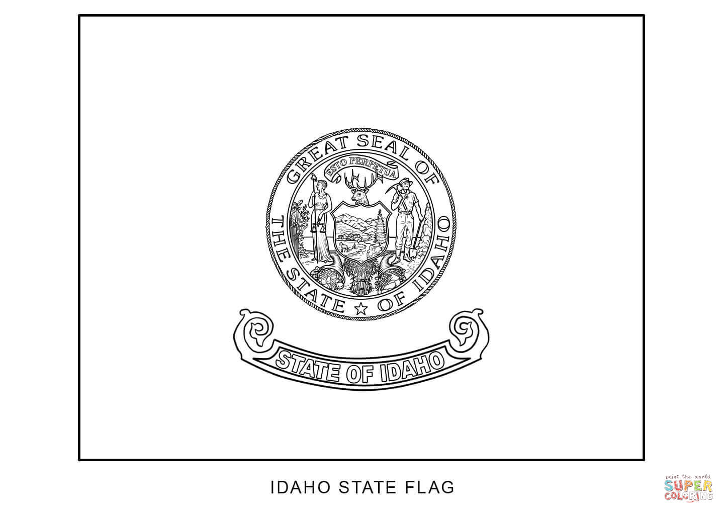 Flag Of Idaho Coloring Page
