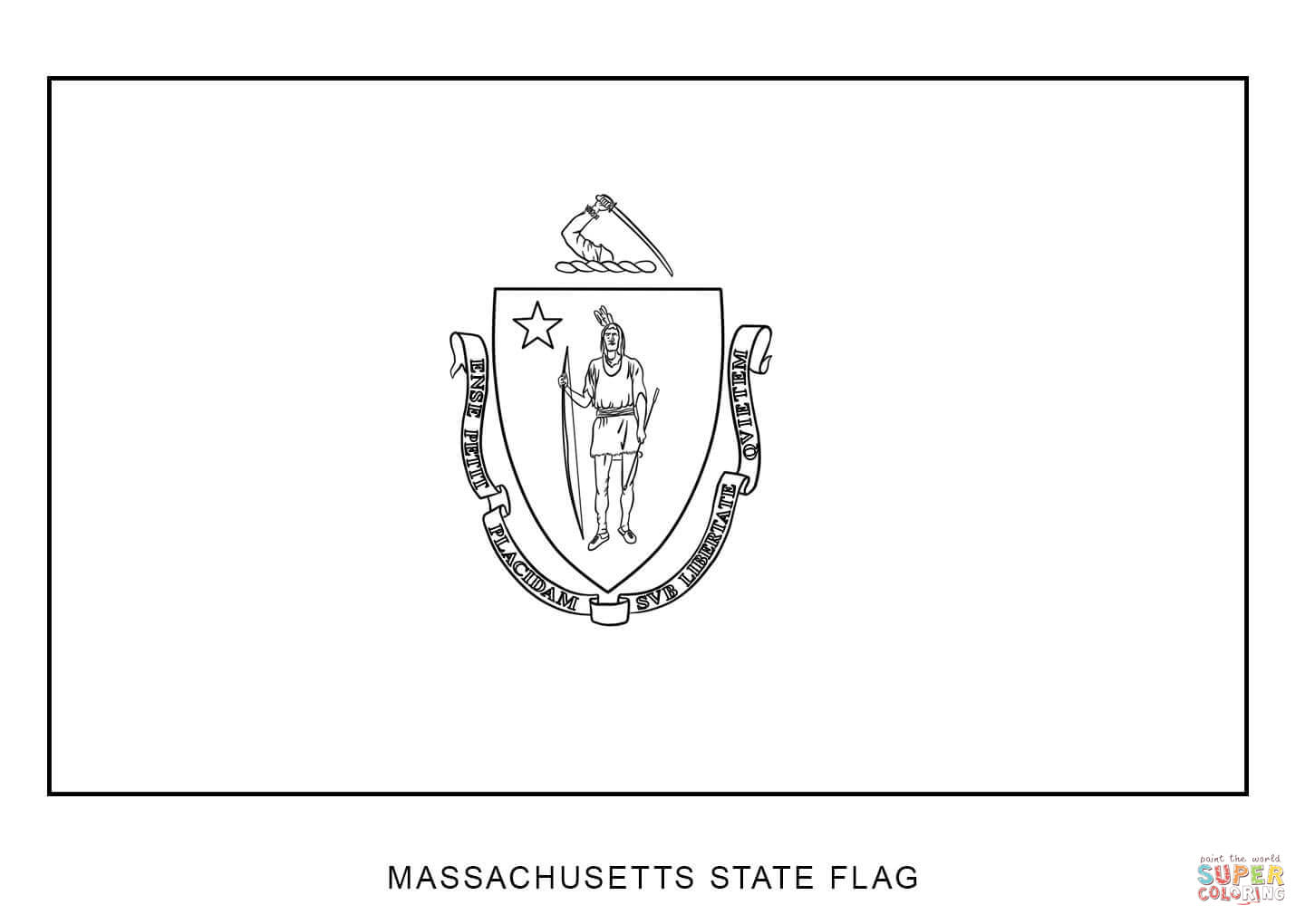 Flag Of Massachusetts Coloring Page