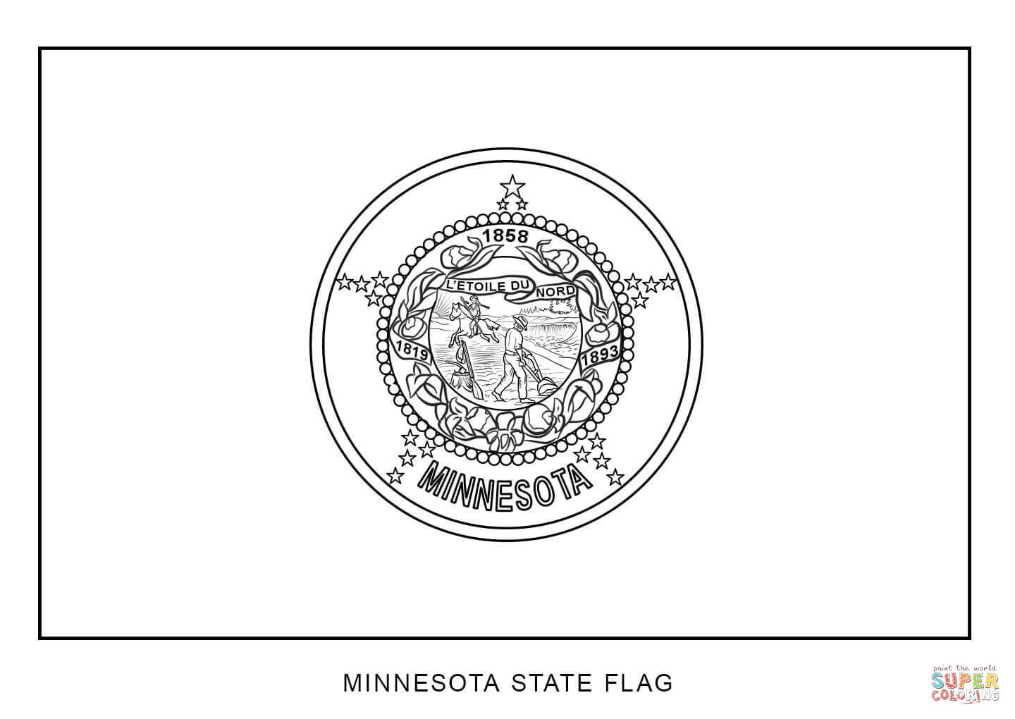 Flag Of Minnesota Coloring Page