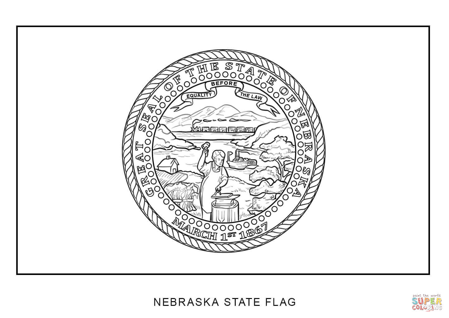 Flag Of Nebraska Coloring Page