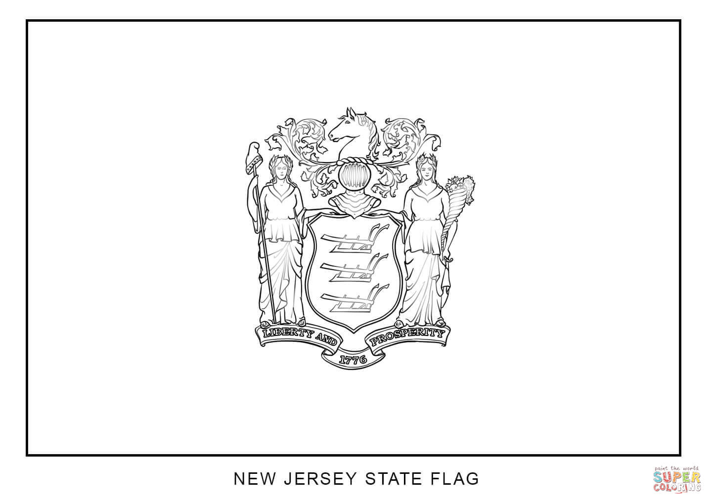 Flag Of New Jersey Coloring Page