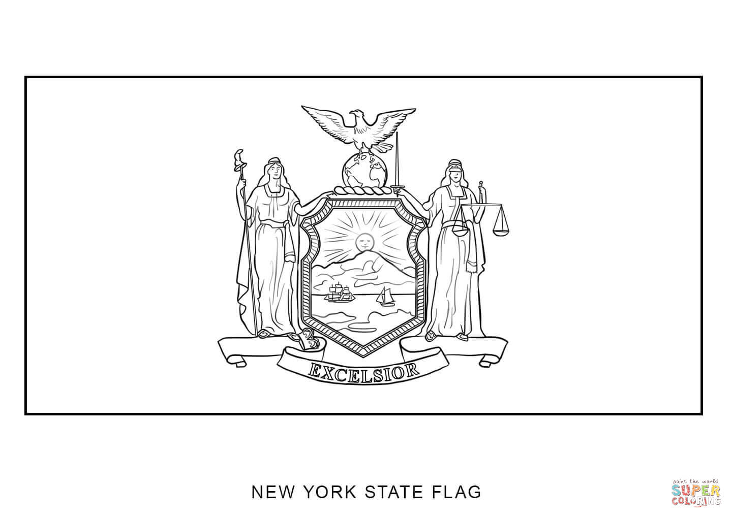 Flag Of New York Coloring Page